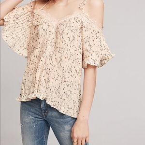Anthropologie Vanessa Virginia Pleated petal top